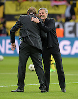 FUSSBALL  CHAMPIONS LEAGUE  HALBFINALE  HINSPIEL  2012/2013      Borussia Dortmund - Real Madrid              24.04.2013 Trainer Juergen Klopp (li, Borussia Dortmund) und Trainer Jose Mourinho (re, Real Madrid)