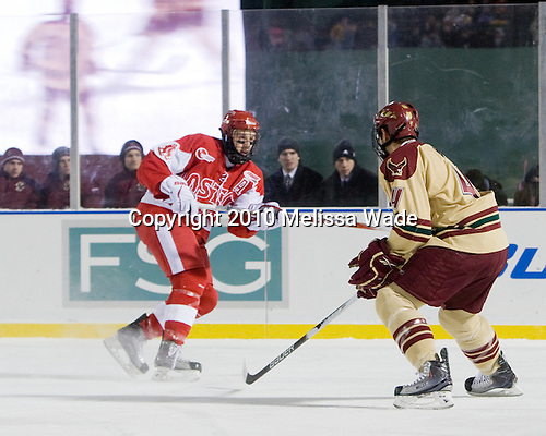 Nick Bonino (BU - 13), Tommy Cross (BC - 4) - The Boston University Terriers defeated the Boston College Eagles 3-2 on Friday, January 8, 2010, at Fenway Park in Boston, Massachusetts, as part of the Sun Life Frozen Fenway doubleheader.