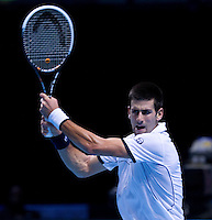 NOVAK DJOKOVIC  (SRB) (1) against  TOMAS BERDYCH (CZE) (7) in the Round Robin Stage of the Barclays ATP World Tour Finals. ..ATP World Tour Finals Day 2, 21.11.2011, 21st November, 2011. 02, London. UK..@AMN IMAGES, Frey, Advantage Media Network, Level 1, Barry House, 20-22 Worple Road, London, SW19 4DH.Tel - +44 208 947 0100.email - mfrey@advantagemedianet.com.www.amnimages.photoshelter.com.