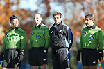 24 November 2013: Match Officials. From left: Assistant Referee Carmen Serbio, Referee Ted Unkel, Fourth Official Jeremy Smith, and Assistant Referee Abbas Piran. The University of Arkansas Razorbacks played the Duke University Blue Devils at Koskinen Stadium in Durham, NC in a 2013 NCAA Division I Women's Soccer Tournament Third Round match. Duke advanced by winning the penalty kick shootout 5-3 after the game ended in a 2-2 tie after overtime.