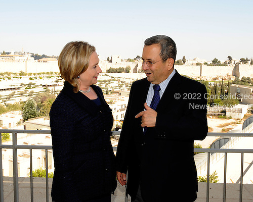 Minister of Defense and Deputy Prime Minister Ehud Barak of Israel, right, meets with United States Secretary of State Hillary Rodham Clinton, left, at the David Citadel Hotel in Jerusalem, Israel, on Wednesday, September 15, 2010. .Credit: Department of State via CNP