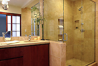 Zen style bathroom in a private residence designed by Perspective Environments.