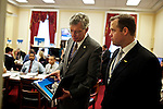 Congressman-elect Jim Bridenstine, from Oklahoma's First District, right, discusses plans for his future office, with his chief of staff Joe Kaufman, left, after picking out furniture in the Rayburn House Office Building in Washington, DC on Nov. 30, 2012.