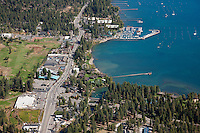 """Tahoe City Aerial 1"" - Aerial photograph of Tahoe City  and Lake Tahoe, shot from an amphibious seaplane with the door removed."