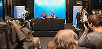 20170208 – LINT ,  BELGIUM : Tessa Wullaert pictured during the press conference of the 63nd men edition of the Golden Shoe award ceremony and 1st Women's edition, Wednesday 8 February 2017, in Lint AED studio. The Golden Shoe (Gouden Schoen / Soulier d'Or) is an award for the best soccer player of the Belgian Jupiler Pro League championship during the year 2016. The female edition is a first in Belgium.  PHOTO DIRK VUYLSTEKE   Sportpix.be