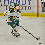 20 February 2016: University of Vermont Catamount Defenseman Mitch Ferguson, a Sophomore from Calgary, Alberta, in third period action against the Boston College Eagles at Gutterson Fieldhouse in Burlington, Vermont. The Eagles defeated the Catamounts 4-1 in the second game of their weekend series. Mandatory Credit: Ed Wolfstein Photo *** RAW (NEF) Image File Available ***