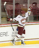 Kelli Stack (BC - 16) celebrates after completing her hat trick. - The Boston College Eagles defeated the visiting Harvard University Crimson 6-2 on Sunday, December 5, 2010, at Conte Forum in Chestnut Hill, Massachusetts.