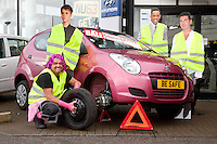 Pictured at Bristol Street Motors Mansfield from left are Technician Mark Wooton, Workshop Controller Richard Hurt and Service manager David Ince checking the car for winter safety