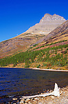 Morning light on Redrock Lake and Redrock Mountain, Many Glacier area, Glacier National Park, Montana.