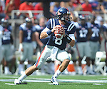 Ole Miss' Zack Stoudt (8) passes at Vaught-Hemingway Stadium in Oxford, Miss. on Saturday, September 24, 2011. Georgia won 27-13.