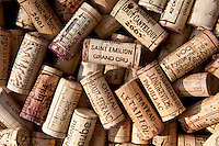 Corks from French wine bottles from St Emilion and surrounding wine regions of France
