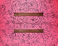 BAR MAGNET FIELDS: LIKE POLES REPEL (1 of 2)<br /> Iron Filings Trace The Magnetic Field<br /> Showing repulsion between aligned like poles