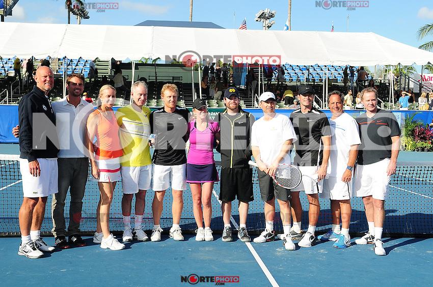 DELRAY BEACH, FL - NOVEMBER 13:(L-R) Murphy Jensen, Jan Michael Gambill, Rennae Stubbs, John McEnroe, Kevin McKidd, Chris Evert, David Cook, Christian Slater, Scott Foley, Jon Lovitz and Patrick McEnroe attends the Chris Evert/Raymond James Pro-Celebrity Tennis Classic at Delray Beach Tennis Center on November 13, 2011 in Delray Beach, Florida. (photo by: MPI10/MediaPunch Inc.)