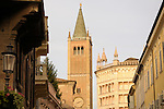 A view fo the Cathedral and Baptistry in Parma, Italy.
