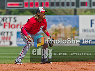 20 March 2015: Washington Nationals infielder Emmanuel Burriss in Spring Training action against the Houston Astros at Osceola County Stadium in Kissimmee, Florida. The Nationals defeated the Astros 7-5 in Grapefruit League play. Mandatory Credit: Ed Wolfstein Photo *** RAW (NEF) Image File Available ***
