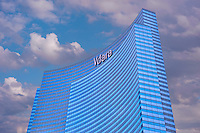 Las Vegas; Nevada;  CityCenter, Resort, Vdara, Hotel & Spa, Architecture, Glass, Steel, Structures,  Hospitality, Vegas Strip, shopping,  Blue Sky, Travel, Destination, View, Unique, Quality
