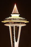 Nighttime scene of top half of Seattle Space Needle, Seattle Center, Seattle, Washington, USA