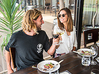 Margaret River, Western Australia/AUS (Wednesday, April 13, 2016)  Matt Wilkinson (AUS) and girlfriend Anna Jordan (AUS) at Wills Domain. - The Drug Aware Margaret River Pro was put on hold toady because of unfavourable surfing conditions. World number one Matt Wilkinson (AUS) and World Tour rookie Davey Cathels took advantage of the day off to visit the Margaret River Chocolate Factory and Wills Domain Winery and restaurant <br />  <br /> The final event of the tour&rsquo;s Australian leg, the Drug Aware Margaret River Pro picks up where Snapper Rocks and Bells Beach left off, transporting the world&rsquo;s best surfer to the wilds of Western Australia where Margaret River Main Break, the infamous Box and newcomer North Point are all options over the coming two weeks.<br /> <br /> <br /> Photo: joliphotos.com