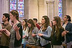 Students, staff, faculty and community members worship during the Ash Wednesday & Catholic Mass service at Duke Chapel, sponsored by the Duke Catholic Center. Ash Wednesday opens Lent, a season of fasting and prayer.