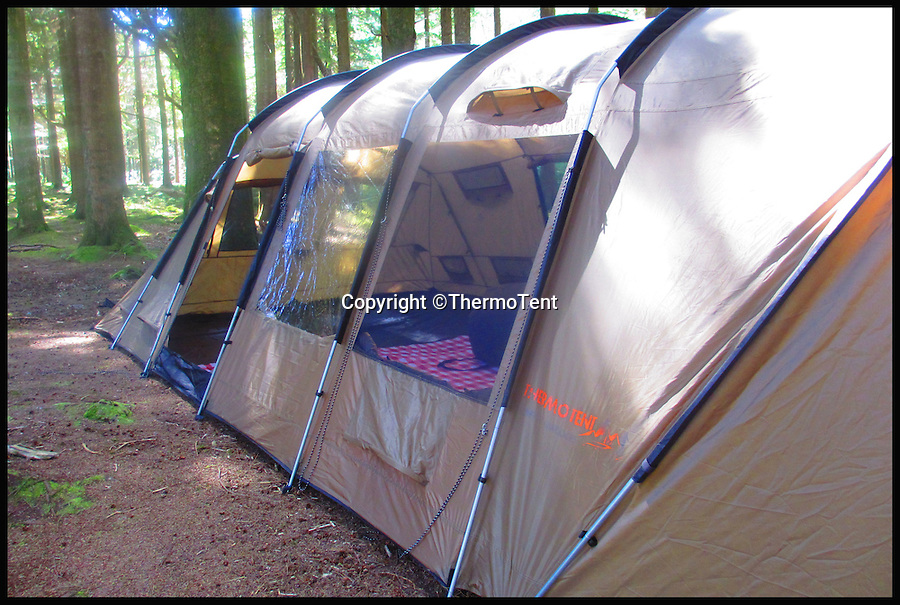 BNPS.co.uk (01202 558833)<br /> Pic: ThermoTent/BNPS<br /> <br /> The Thermo Tent on location.<br /> <br /> An inventor is hoping to revolutionise the camping world just in time for the notorious British summer after launching an insulated tent that keeps campers warm in cold weather and cool in the heat.<br /> <br /> Derek O'Sullivan says his Thermo Tent will finally end the age-old problem of campers being freezing cold at night then boiling hot once the sun comes up by mimicking house insulation.<br /> <br /> It means the temperature inside the tent remains stable, putting paid to common camping problems like having to take extra sleeping bags or having to wake up at the crack of dawn to let fresh air in.<br /> <br /> And Derek says that thanks to the insulation his Thermo Tents also block out noise, saving campers the misery of being kept awake by revellers or being woken early by screaming children.<br /> <br /> He has now launched the product on crowdfunding website Kickstarter where it has captured the imaginations of the online community -  almost all of the 40,000 euros he needs to get his company started has been pledged.
