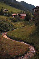 Liechtenstein  Malbun  June 2008.Small town high in the Alpine (southeastern).Stream in Malbun..