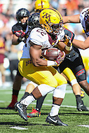 College Park, MD - October 15, 2016: Minnesota Golden Gophers running back Kobe McCrary (22) runs the ball during game between Minnesota and Maryland at  Capital One Field at Maryland Stadium in College Park, MD.  (Photo by Elliott Brown/Media Images International)
