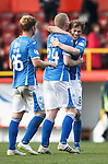 Aberdeen v St Johnstone...03.10.15   SPFL   Pittodrie, Aberdeen<br /> Murray Davidson hugs Brian Easton at full time<br /> Picture by Graeme Hart.<br /> Copyright Perthshire Picture Agency<br /> Tel: 01738 623350  Mobile: 07990 594431