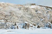 Roaring Mountain in Yellowstone National Park during winter