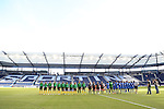 16 October 2014: The starters and match officials are introduced in front of a nearly empty stadium. The Jamaica Women's National Team played the Martinique Women's National Team at Sporting Park in Kansas City, Kansas in a 2014 CONCACAF Women's Championship Group B game, which serves as a qualifying tournament for the 2015 FIFA Women's World Cup in Canada. Jamaica won the game 6-0.