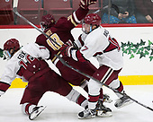 Adam Fox (Harvard - 18), Colin White (BC - 18), Sean Malone (Harvard - 17) - The Harvard University Crimson defeated the visiting Boston College Eagles 5-2 on Friday, November 18, 2016, at Bright-Landry Hockey Center in Boston, Massachusetts.{headline] - The Harvard University Crimson defeated the visiting Boston College Eagles 5-2 on Friday, November 18, 2016, at Bright-Landry Hockey Center in Boston, Massachusetts.