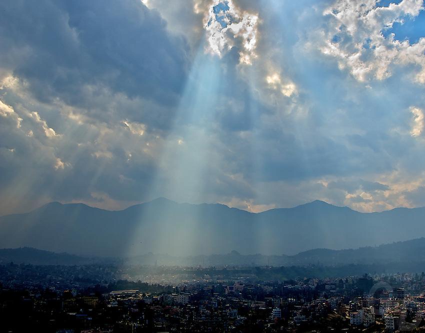Streams of Sunlight on Kathmandu view from the Pasuati Nath Buddhist Monkey Temple, Kathmandu, Nepal