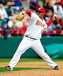 9 March 2010: Washington Nationals' pitcher Atahualpa Severino on the mound during a Spring Training game against the Detroit Tigers at Space Coast Stadium in Viera, Florida. The Tigers defeated the Nationals 9-4 in Grapefruit League action. Mandatory Credit: Ed Wolfstein Photo