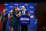 Bill White, the 2010 Democratic candidate in the Texas governors race, delivers his concession speech in Houston, Texas. With him are his wife Andrea and children Will, Elena, and Stephen (left to right).