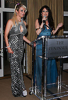 BEVERLY HILLS, CA, USA - MARCH 28: Sabrina Parisi, Vikki Lizzi at the Versace Unveiling Of The 1st Pop Recording Artist Superhero - KUBA Ka's Performance Outfits. Designed by the legendary fashion hosuse - Donatella Versace. For the Benefit of the Face Forward Foundation (Plastic Surgery for Destroyed Faces from Violence). Pop entertainer TV personality KUBA Ka, together with VERSACE, unveiled Kuba Ka's new Versace images, for the First Pop Artist/Superhero of the World. He has become the inspiration of Donatella's newest and wildest creations and will celebrate the launch of his new power house conglomerate - KUBA Ka Empire Inc. in collaboration with the sensational fashion house - VERSACE on Friday, his birthday at a red carpet media and celebrity event at the luxurious Peninsula Hotel in Beverly Hills held at the Peninsula Hotel on March 28, 2014 in Beverly Hills, California, United States. (Photo by Xavier Collin/Celebrity Monitor)