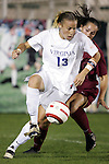 4 November 2005: Virginia's Noelle Keselica (13) turns in front of a Florida State defender. The University of Virginia defeated Florida State University 2-0 at SAS Stadium in Cary, North Carolina in the semifinals of the 2005 ACC Women's Soccer Championship.