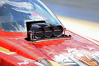 May 6, 2017; Commerce, GA, USA; Detailed view of the injector scoop on the car of NHRA funny car driver Jonnie Lindberg during qualifying for the Southern Nationals at Atlanta Dragway. Mandatory Credit: Mark J. Rebilas-USA TODAY Sports