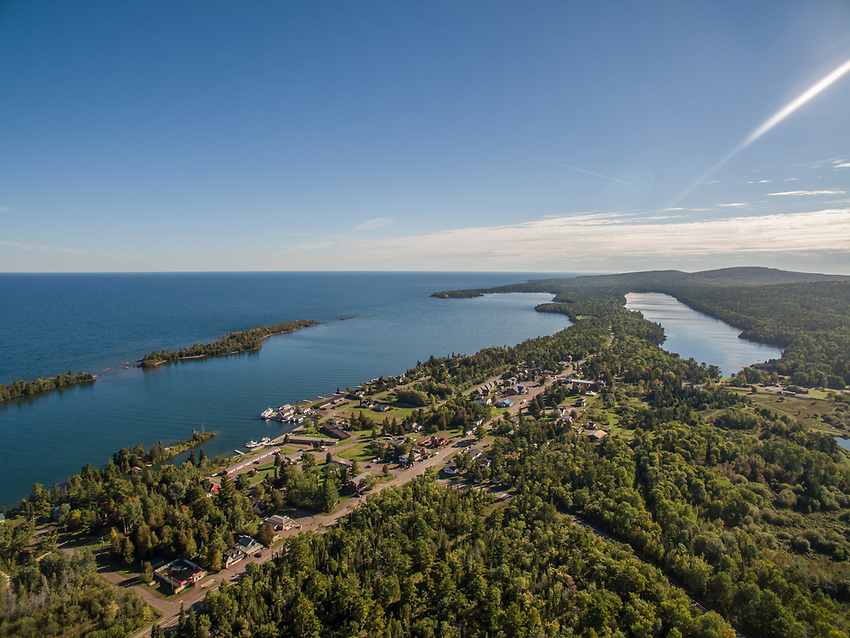 Aerial drone image of Copper Harbor, Michigan with Lake Superior and Lake Fanny Hooe.