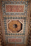 Africa, Morocco, Marrakech. Zouak painted ceiling of El Bahia Palace.
