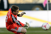 Philadelphia Union goalkeeper Zac MacMath (18) makes a save. Sporting Kansas City defeated the Philadelphia Union 2-1 during a Major League Soccer (MLS) match at PPL Park in Chester, PA, on October 26, 2013.