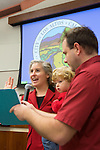 Returning councilmember, Megan Satterlee, is sworn-into council for another term after a successful re-election bid Nov. 6.  She joins three other women on the council.