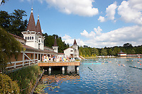 Stock photos of Hévíz [ Heves ] Thermal lake - Second largest thermal lake in the world with water at 35-36 degree C - Balaton - Hungary
