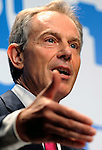 Former British prime minister Tony Blair speaks during presentation of his climate report in Tokyo, Japan in June 2008..Photographer:Robert Gilhooly