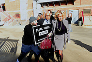 Washington, DC - February 10, 2017: A protestor shoves Secretary of Education Betsy DeVos and clash with her security detail as she arrives at the Jefferson Jefferson Middle Academy in the District of Columbia, February 10, 2017. Three protestors successfully prevented DeVos from entering the school.  (Photo by: Don Baxter/Media Images International)