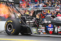 Oct 1, 2016; Mohnton, PA, USA; NHRA top fuel driver Dom Lagana during qualifying for the Dodge Nationals at Maple Grove Raceway. Mandatory Credit: Mark J. Rebilas-USA TODAY Sports
