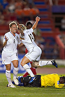 Rachel Buehler of United States celebrates goal. The US Women's National Team defeated Haiti 5-0 during the CONCACAF Women's World Cup Qualifying tournament at Estadio Quintana Roo in Cancun, Mexico on October 28th, 2010.