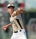 BEACON FALLS,  CT-051817JS26-Woodland's Zak Graveline (3) delivers a pitch during their game against Wolcott Thursday at Woodland Regional High School in Beacon Falls. <br /> Jim Shannon Republican-American