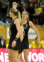 NZ's Irene Van Dyk and Casey Williams. International Netball  - New Zealand Silver Ferns v Australian Diamonds Constellation Cup match at TSB Bank Arena, Wellington on Thursday, 2 September 2010. Photo: Dave Lintott/lintottphoto.co.nz.