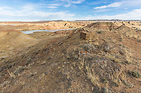 Bighorn Basin badlands and lake