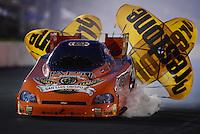May 18, 2012; Topeka, KS, USA: NHRA funny car driver Todd Lesenko during qualifying for the Summer Nationals at Heartland Park Topeka. Mandatory Credit: Mark J. Rebilas-