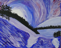 &quot;MIDNIGHT MOUNTAINS&quot; Inspired by an evening in Glacier National Park, this impressionistic painting depicts a rising moon over a wintry forest and frozen lake.<br /> <br /> Original painting 16 x 20. Contact for availability and pricing.